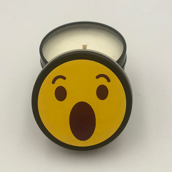 Shocked Surprised WOW Emoji Candle Travel Tin scented candle