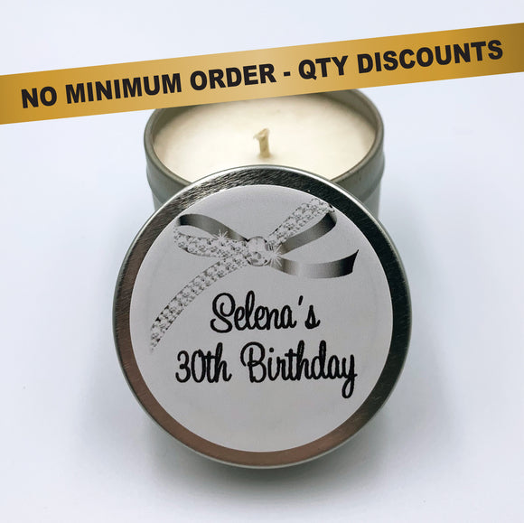 Personalised silver candle for birthday customised label with elegant diamond bow, silver candle tin