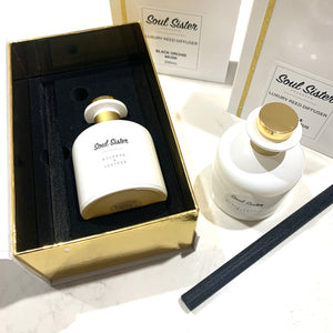 Reed diffuser luxury white and gold boxed with black inlay velvet black thick diffuser reed