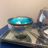 Wax Melt Bowl Silver with Electric Blue interior