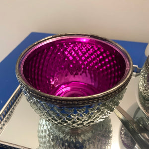Wax Melt Bowl Silver with Royal Purple interior