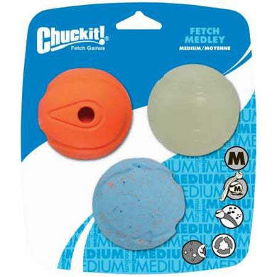 Chuckit Fetch Medley Ball Medium (3 Pack) - Petizon