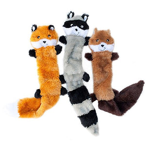 ZippyPaws - Skinny Peltz No Stuffing Squeaky Plush Dog Toy, Fox, Raccoon, and Squirrel - Large - Petizon