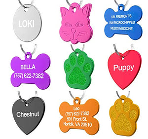 Pet ID Tag Custom for Dog Cat Personalized | Many Shapes and Colors to Choose From | Made in USA | Strong Anodized Aluminum - Petizon