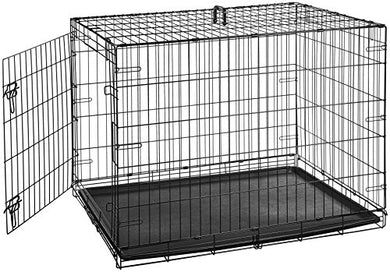 AmazonBasics Single Door Folding Metal Dog or Pet Crate Kennel with Tray - Petizon