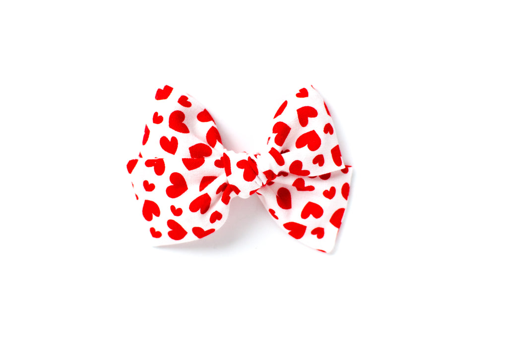 Red Hearts on White - Hand Tied Bow