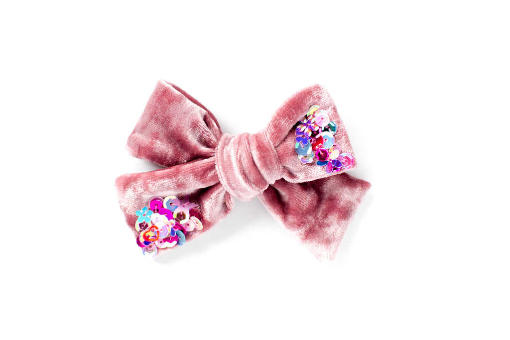 Blush with Sequins - Velvet Bow