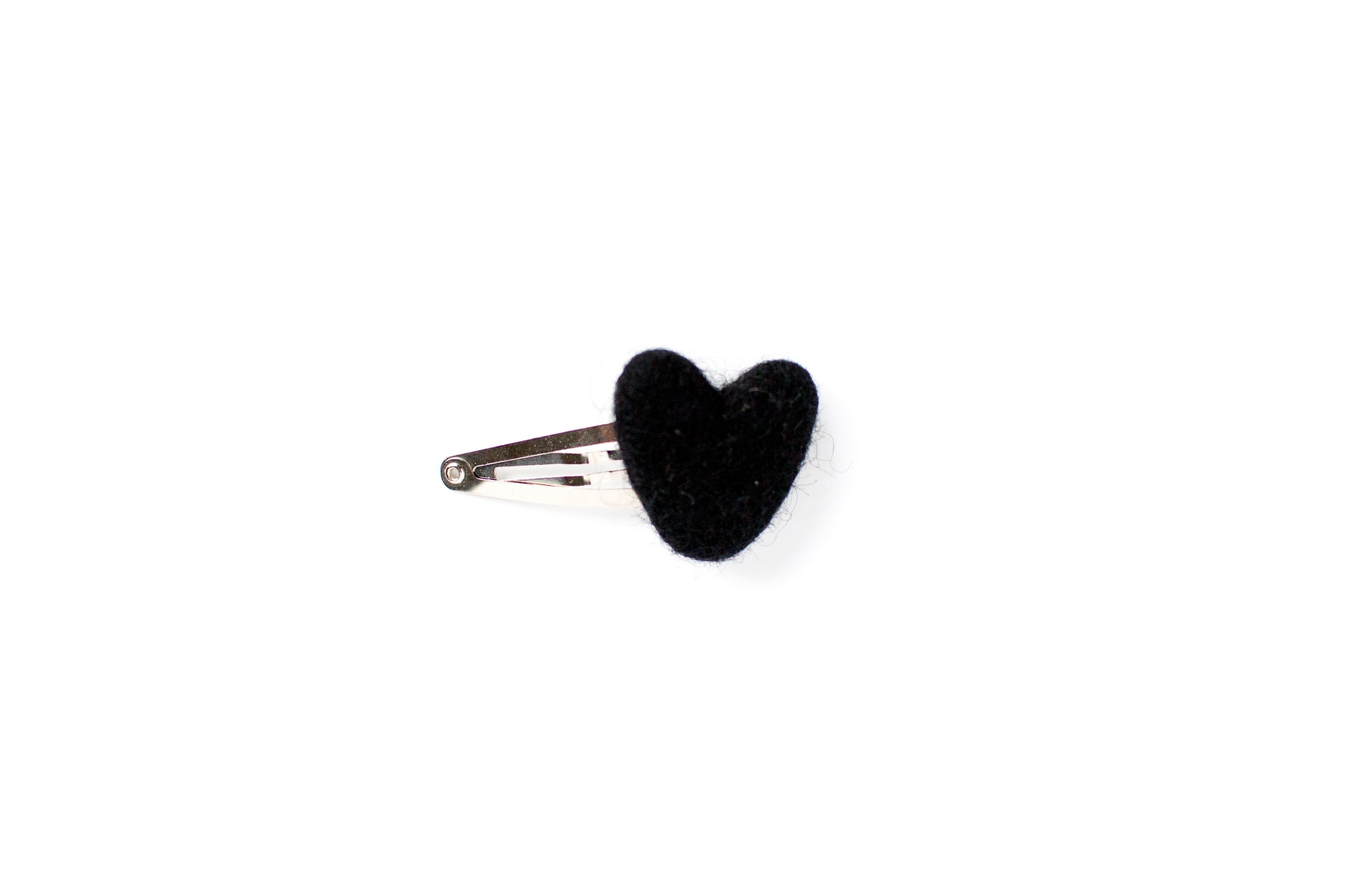 Black felt heart on a snap clip