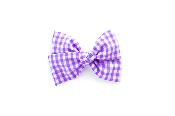 Purple Gingham - Hand Tied Bow
