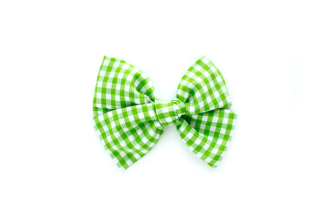 Green Gingham - Hand Tied Bow