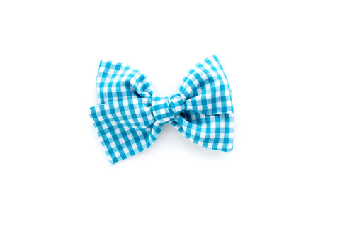 Blue Gingham - Hand Tied Bow