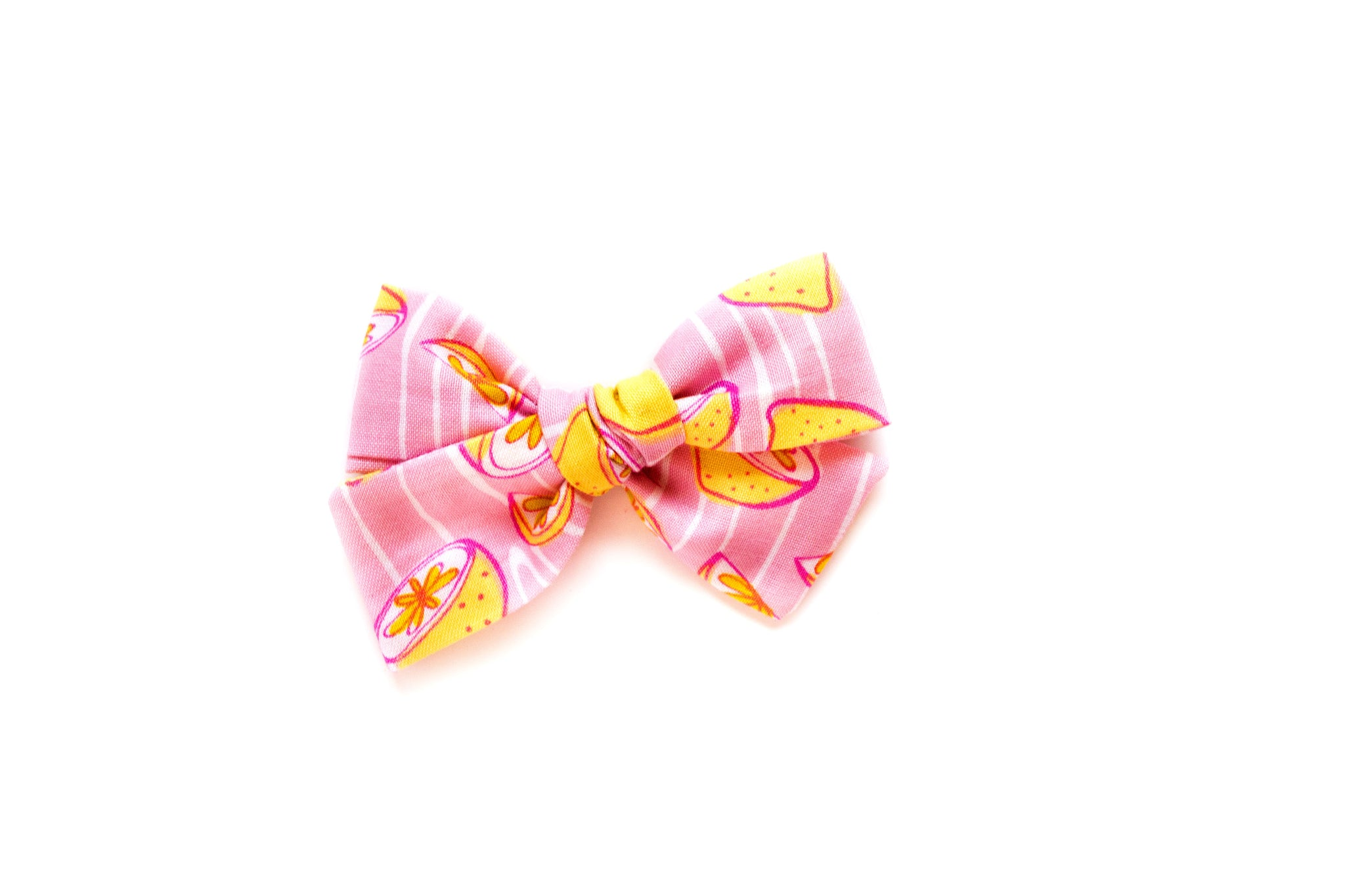 Lemon on Pink - Hand Tied Bow
