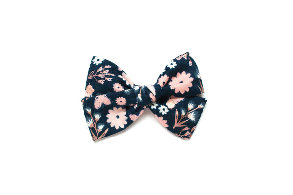 Navy & Rose Gold Floral - Hand Tied Bow