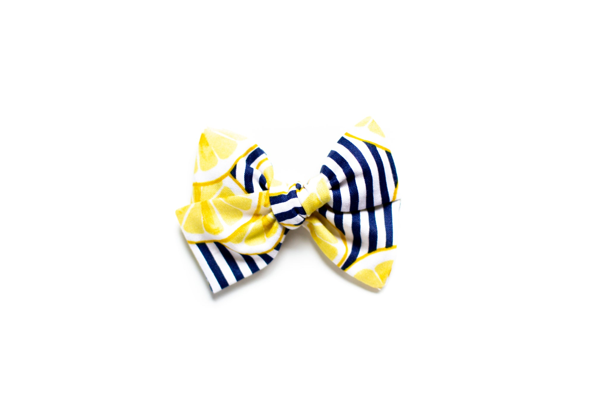 Lemon & Navy Stripes - Hand Tied Bow