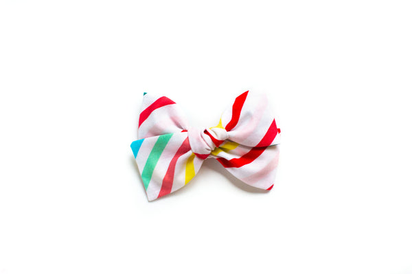 Rainbow Stripes - Hand Tied Bow