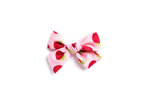 Strawberries on Pink - Hand Tied Bow