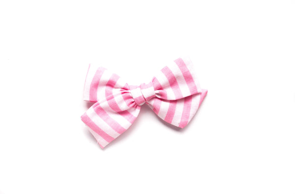 Pink Stripes - Hand Tied Bow