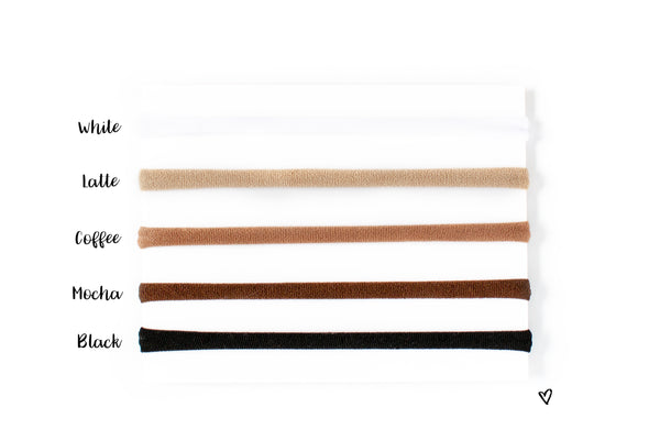 Different shades of nude nylons for baby headbands