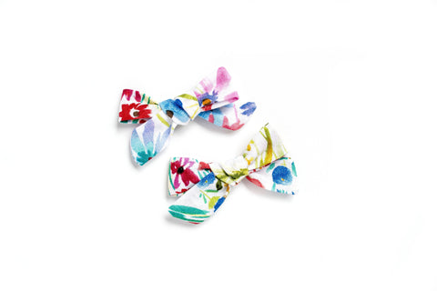 Watercolor Floral - Pigtail Bows