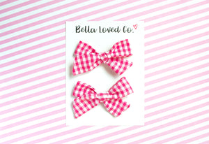 Pink Gingham Pigtail Bows, Girl Hair Clips, Pig Tail Bows, Girl Hair Accessories, Toddler Pink Hair Bows, Pink Girl Bows, Girl Birthday Bows