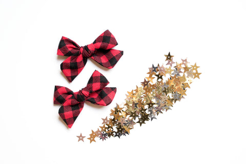 Red Buffalo Plaid -  Pigtail Bows