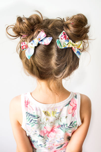 Bright Florals - Pigtail Bow Set