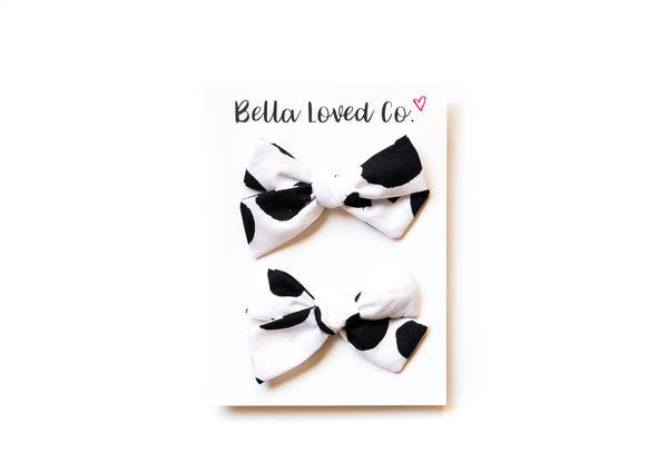 Dalmatian Dot - Pigtail Bow Set