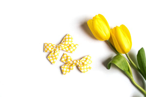 Yellow Pigtail Bows, Yellow Polka Dot Pigtail Bows, Girl Pig Tail Bows, Girl Hair Clips, Yellow Hair Bows on Clips