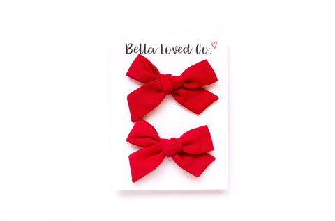 Red - Pigtail Bow Set
