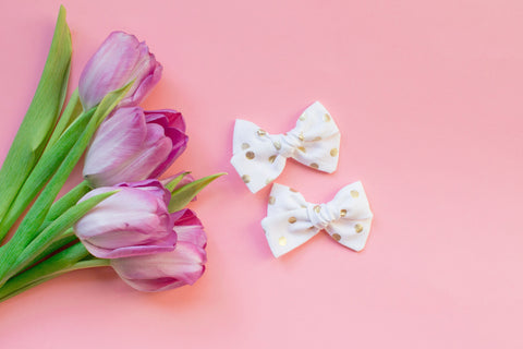 White and Gold - Pigtail Bow Set