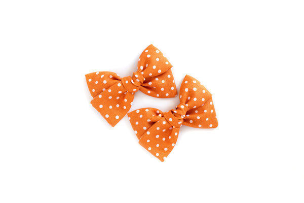 Orange Polka Dot - Pigtail Bow Set