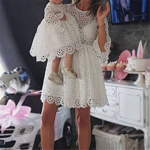 Mommy and Me White eyelet lace summer Dress