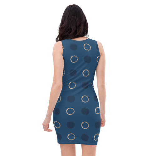 Polka Dot Blue Gold Dress