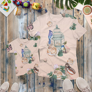 Peach Birdcage Roses kids T-shirt