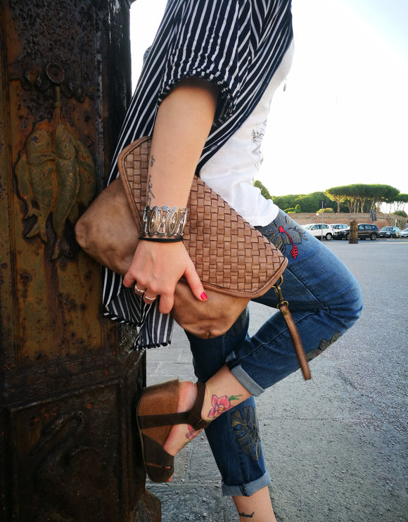 Woven leather crossbody/clutch MONICA - Republica Toscana Bags