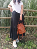 Leather bucket bag BRENDA - Republica Toscana Bags