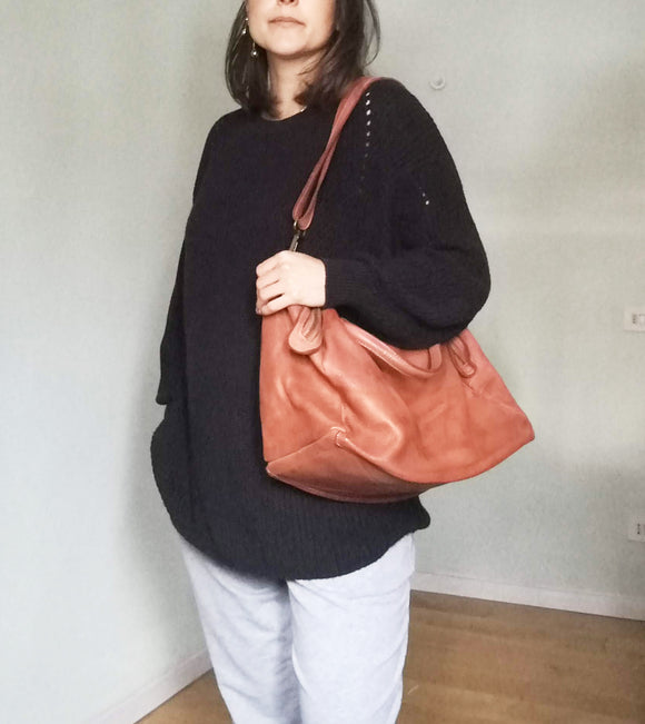 Leather tote bag REGINA