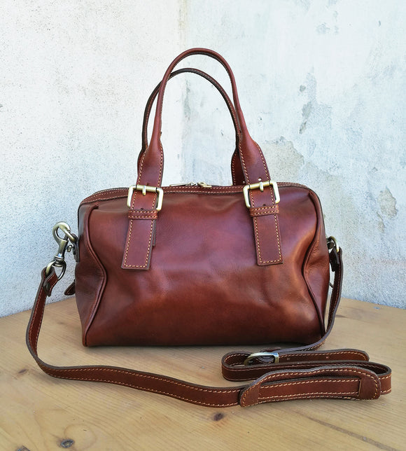 Leather duffel bag OLIVIA