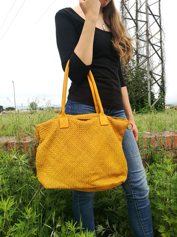 Woven leather tote bag GISELLE