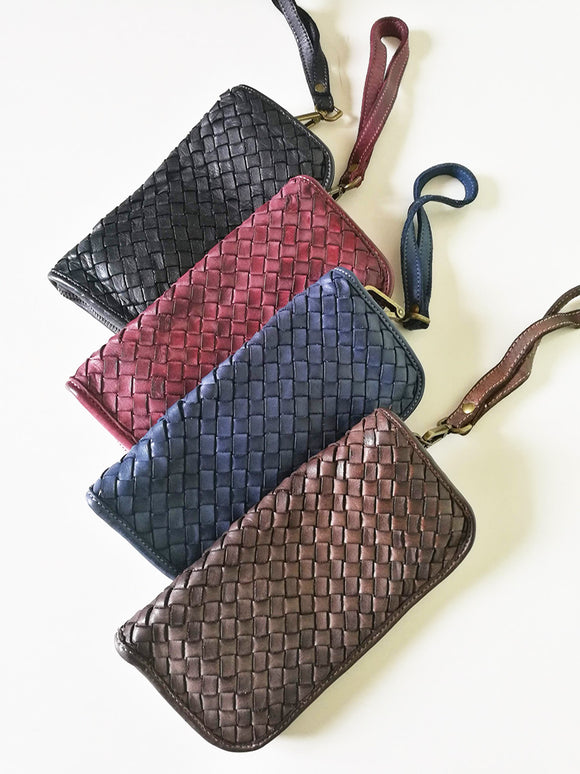 Woven leather wallet MACARENA