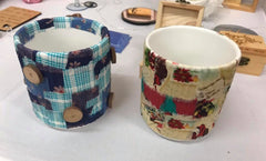 Fabric decorated pots
