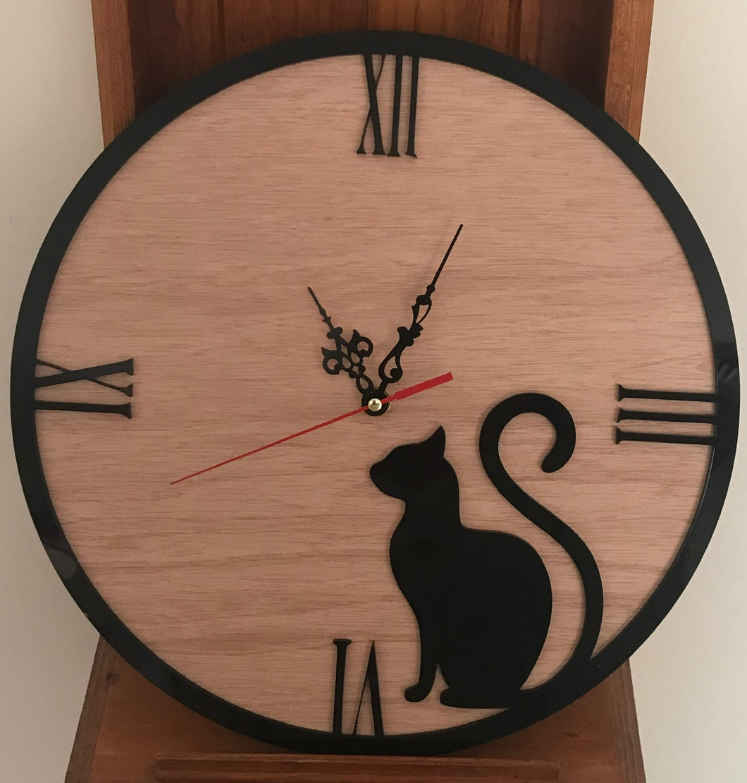 Timber & Acrylic Clock - Black Cat
