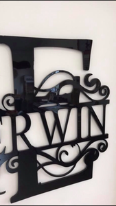 Split Monogram House Sign - Custom Made