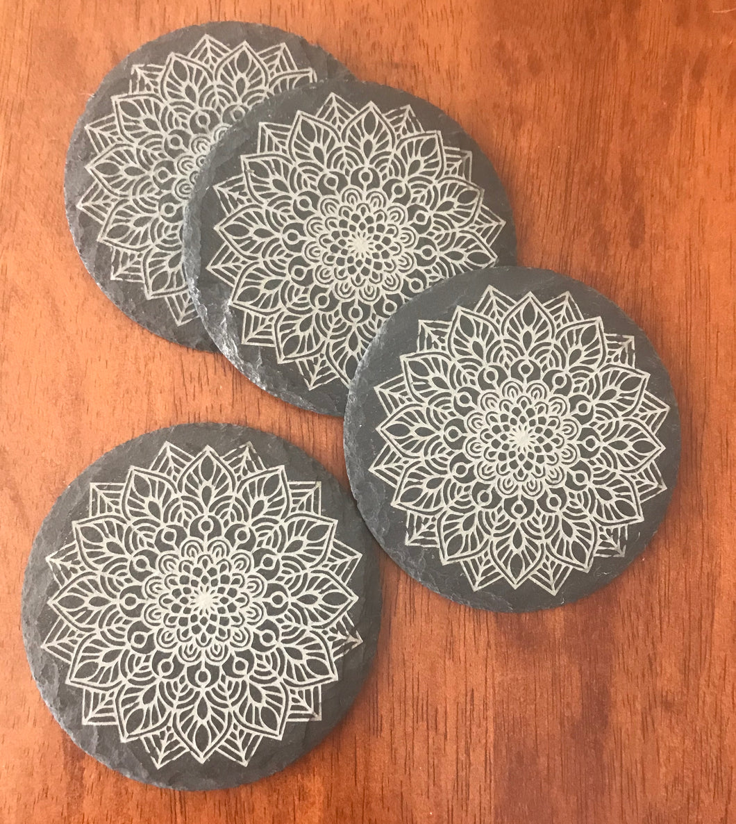 Round slate drinks coasters
