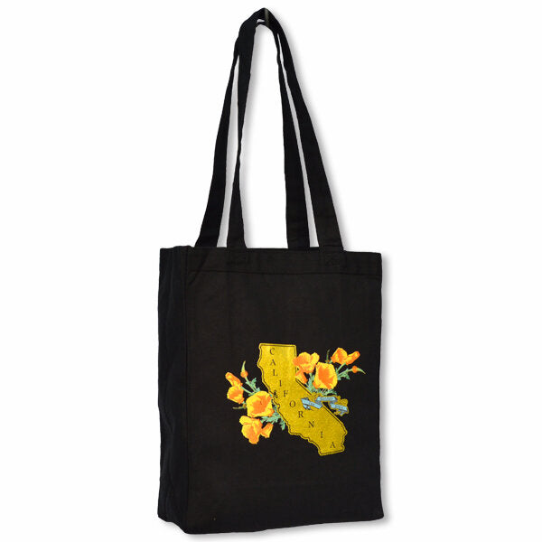 Golden State Poppy Canvas Tote in Black