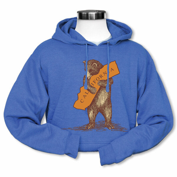 California Bear Hug Unisex Fleece Hoodie in Heathered Blue