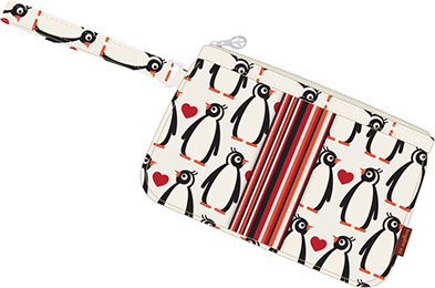 Penguin Canvas Striped Wristlet