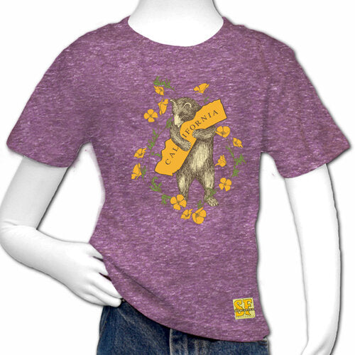 California Bear and Poppy Tri-Blend Youth Tee in Purple