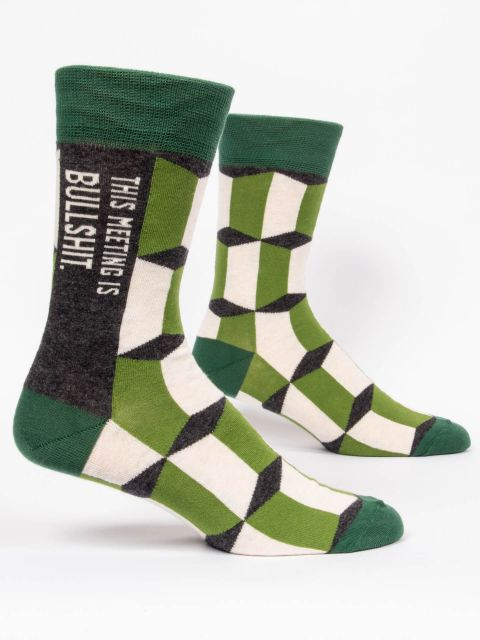 Men's This Meeting is Bullshit Crew Socks in Green