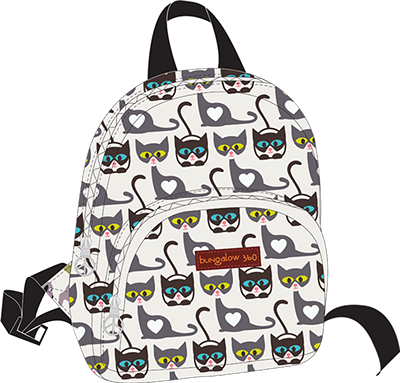 Cat Cotton Canvas Kids Back Pack